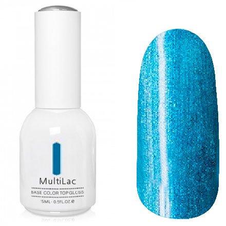 ruNail, MultiLac №2621 (15 мл.)Однофазный RuNail<br>Гель-лак 4 в 1, цвет сине-голубой с перламутром<br>