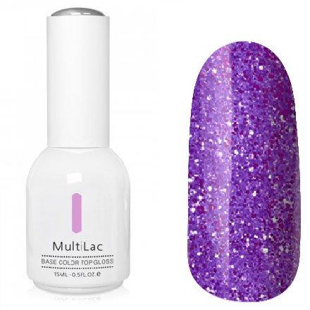 ruNail, MultiLac №2626 (15 мл.)Однофазный RuNail<br>Гель-лак 4 в 1, цвет фиолетовый с блестками<br>