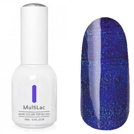 ruNail, MultiLac №2627 (15 мл.)Однофазный RuNail<br>Гель-лак 4 в 1, цвет синий с блестками<br>