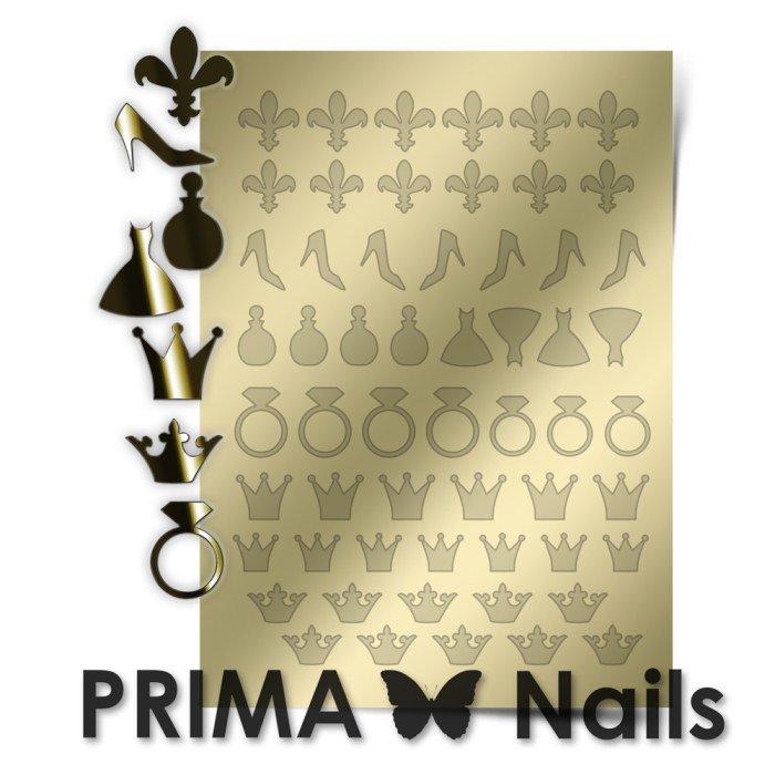 PrimaNails, Металлизированные наклейки для дизайна FSH-003, ЗолотоМеталлизированные наклейки<br>Металлизированные наклейки PRIMA NAILS - модный тренд в дизайне ногтей, который актуален для любого сезона!<br>