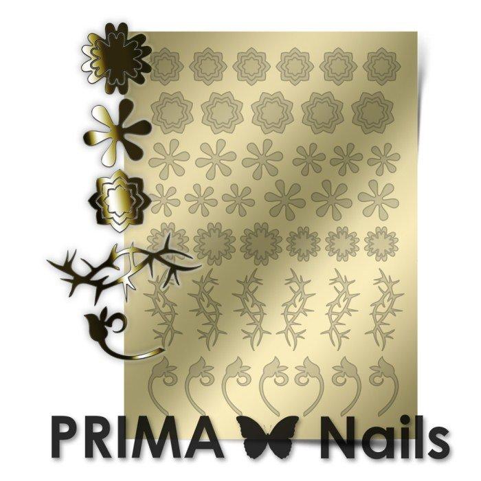 PrimaNails, Металлизированные наклейки для дизайна FL-001, ЗолотоМеталлизированные наклейки<br>Металлизированные наклейки PRIMA NAILS - модный тренд в дизайне ногтей, который актуален для любого сезона!<br>