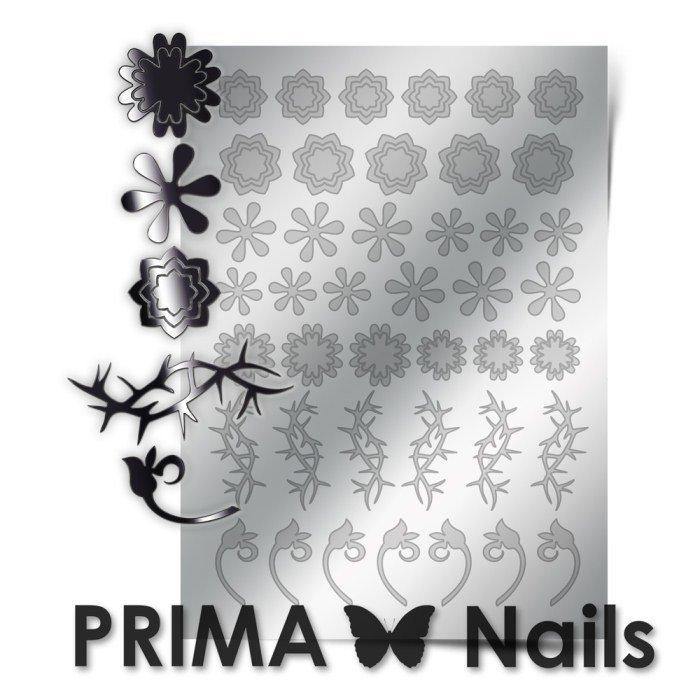 PrimaNails, Металлизированные наклейки для дизайна FL-001, СереброМеталлизированные наклейки<br>Металлизированные наклейки PRIMA NAILS - модный тренд в дизайне ногтей, который актуален для любого сезона!<br>