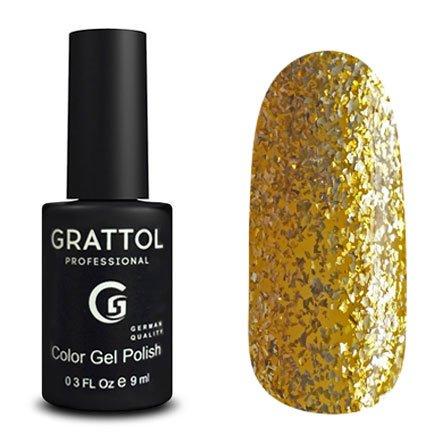Grattol, Гель-лак Glitter Bright Gold №75 (9 мл.)Grattol<br>Гель лак, полупрозрачный золотой, с ярко-золотой слюдой<br>