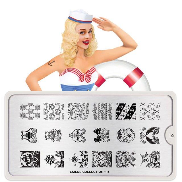 Пластина MoYou London Sailor 16Пластины для стемпинга MoYou London<br>Коллекция Sailor<br>