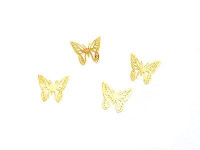 TNL, Дизайн золотистый металл - Бабочки (20 шт/уп) (TNL Professional (Корея))