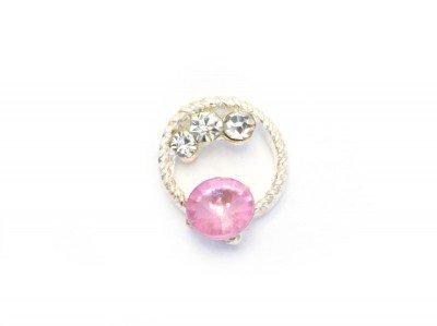 TNL, Металлическая фурнитура - Кольцо с розовым камнем (4 шт/уп)Металлические украшения<br>Металлическая фурнитура - Кольцо с розовым камнем<br>