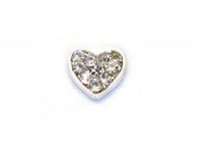 TNL, Металлическая фурнитура - Серебряное сердце со стразами (2 шт/уп)Металлические украшения<br>Металлическая фурнитура - Серебряное сердце со стразами<br>