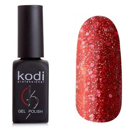 Kodi, Гель-лак № 199 (8ml)Kodi Professional <br>Гель-лаккирпично-красный с большим количеством мелких и крупных блесток, плотный,8мл.<br>