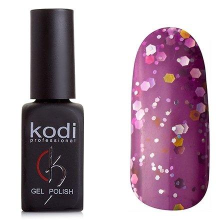 Kodi, Гель-лак № 204 (8ml)Kodi Professional <br>Гель-лак прозрачно темно-лиловый, с крупными и средними золотыми и серебряными микроблестками, плотный,8мл.<br>