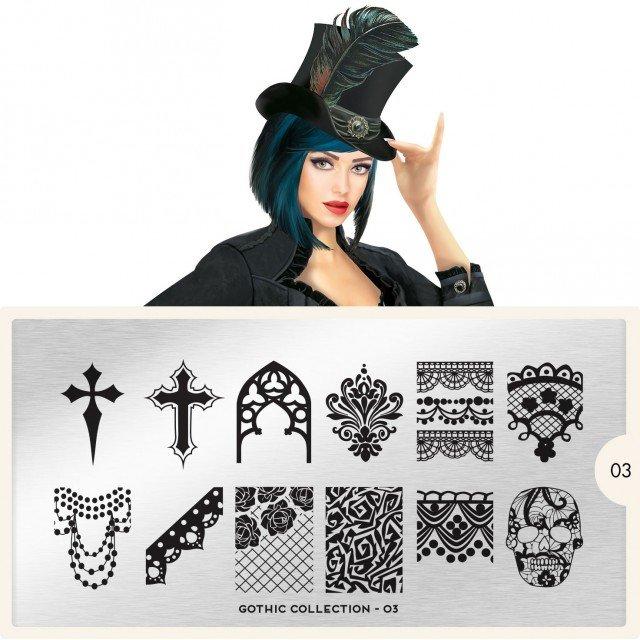 Пластина MoYou London Gothic 03Пластины для стемпинга MoYou London<br>Коллекция Gothic<br>