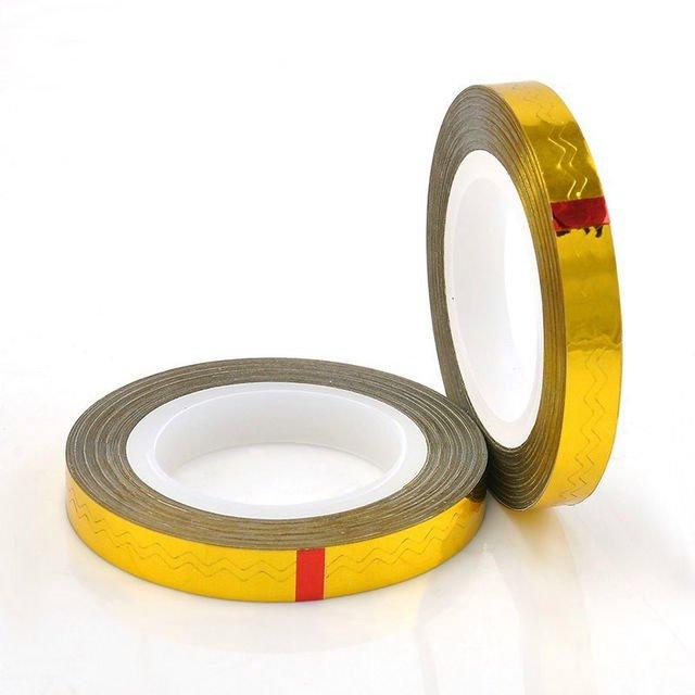 Bluesky, Фигурная самоклеющаяся фольга-лента (золото голографик)Самоклеющаяся лента для дизайна ногтей<br>Фигурная самоклеющаяся фольга-лента<br>
