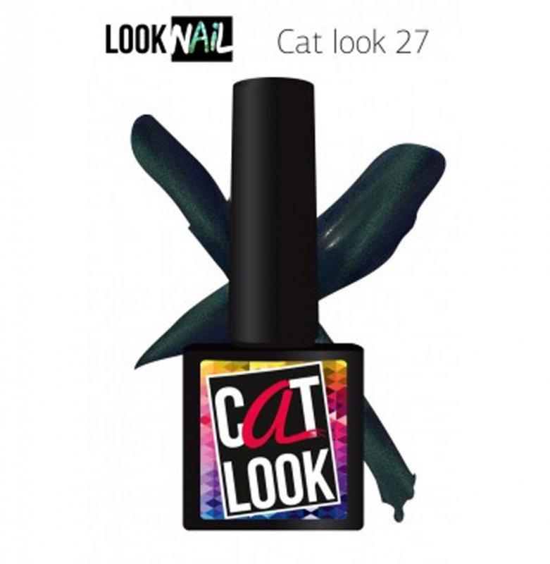Look Nail, Cat Look - Кошачий глаз №27 (10 ml.)Look Nail<br>Гель-лак кошачий глаз, сине-изумрудный, с перламутром,плотный<br>