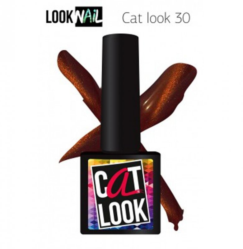 Look Nail, Cat Look - Кошачий глаз №30 (10 ml.)Look Nail<br>Гель-лак кошачий глаз, темный медный, с золотистым перламутром,плотный<br>