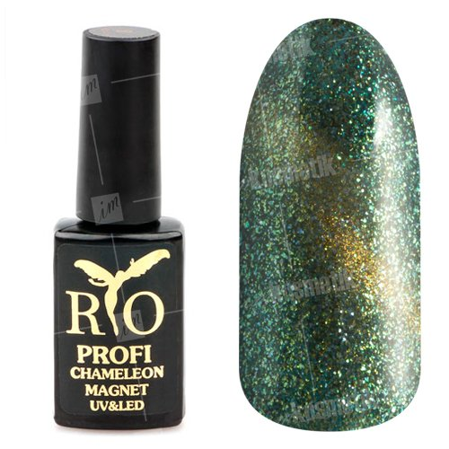Rio Profi, Гель-лак - Сияющий Магнитный Кошачий глаз №16 (7мл.)Rio Profi<br>Гель-лак Сияющий Магнитный гель лак, изумрудный, с золотистым переливом и блестками, плотный<br>