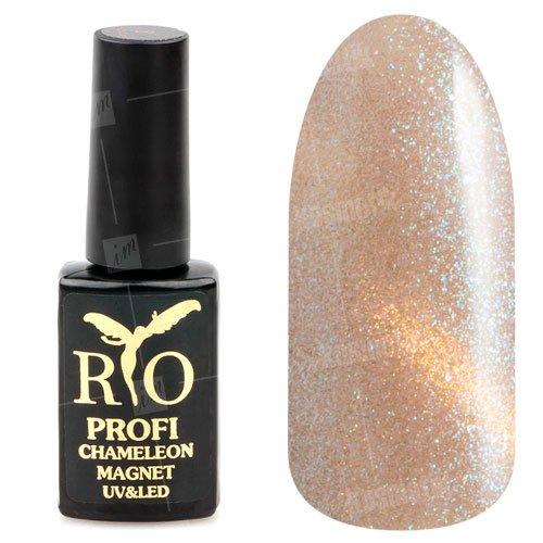 Rio Profi, Гель-лак - Сияющий Магнитный Кошачий глаз №17 (7мл.)Rio Profi<br>Гель-лак Сияющий Магнитный гель лак, серо-бежевый, с золотистым переливом и блестками, плотный<br>
