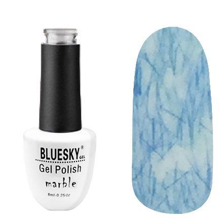 Bluesky, Гель-лак - Marble №03 (8 мл.)Bluesky 8 мл<br>Гель-лак с эффектом мрамора, серо-белый, с синим рисунком, плотный<br>