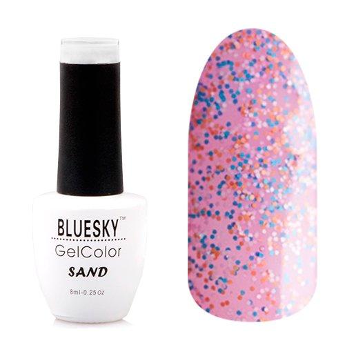 Bluesky, Гель-лак - Sand №07 (8 мл.)Bluesky 8 мл<br>Гель-лак с эффектом песка, полупрозрачный, с розовым подтоном, с блестками и конфетти.<br>