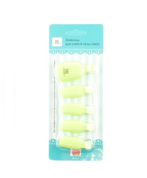 TNL, Зажимы для снятия гель-лака на ногах, 5шт (салатовый)Сопутствующие инструменты<br>Зажимы применяются для процедуры снятия гель-лакового покрытия.<br>