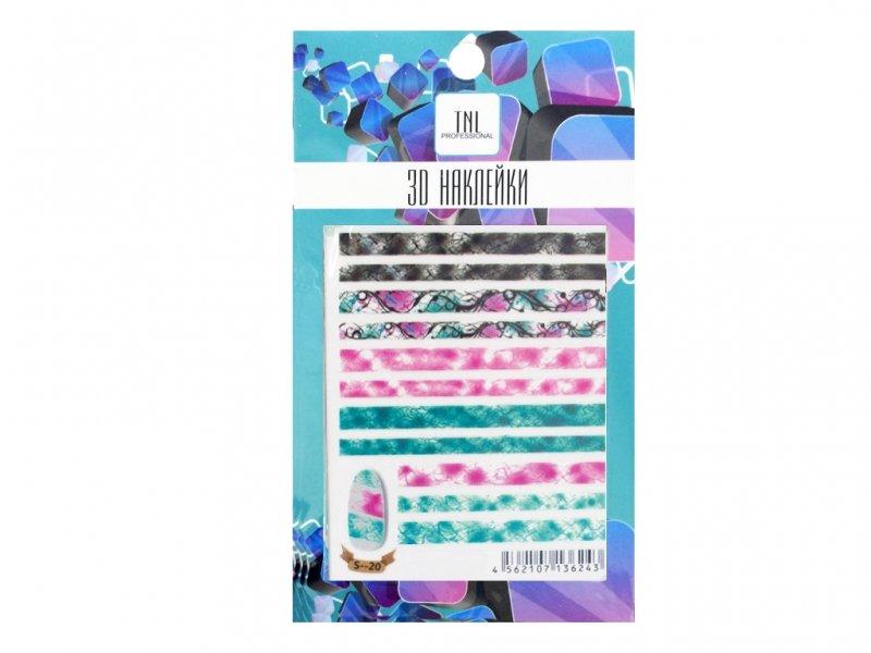 TNL, 3D Наклейка S20Наклейки для дизайна ногтей<br>3D Наклейка<br>