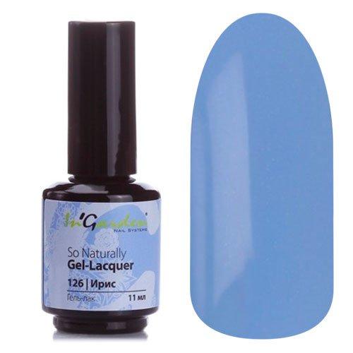 InGarden So Naturally, цвет №126 ИрисInGarden So Naturally<br>Гель-лак, небесно-голубой с голографическими микроблестками, плотный, 11 ml<br>