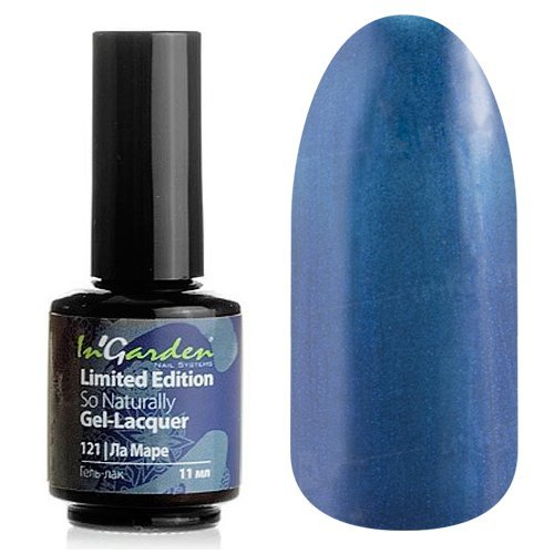 InGarden So Naturally, цвет №121 Ла МареInGarden So Naturally<br>Гель-лак, темно-синий, перламутровый, плотный, 11 ml<br>