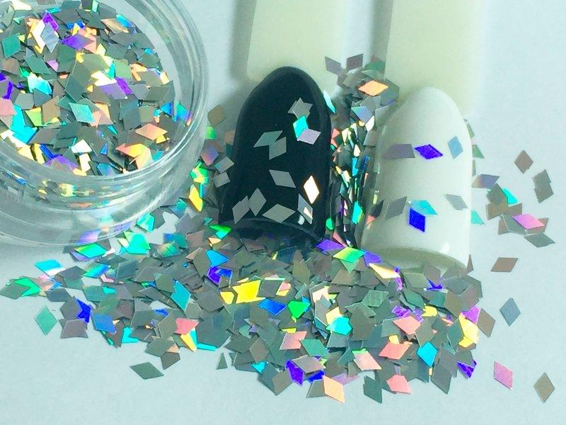 NelTes, Ромбики (серебряный, 2х3 мм.)Камифубуки для дизайна ногтей<br>Ромбикидля дизайна ногтей<br>