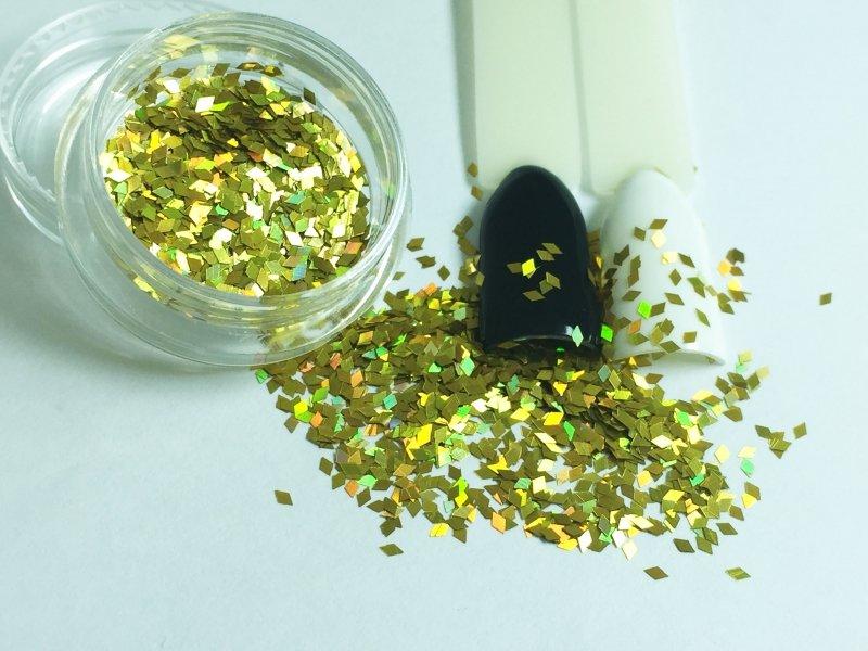 NelTes, Ромбики (золотой, 1 мм.)Камифубуки для дизайна ногтей<br>Ромбикидля дизайна ногтей<br>