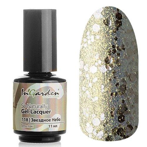 InGarden So Naturally, цвет №118 Звездное НебоInGarden So Naturally<br>Гель-лак, в виде золотой, оранжевой и салатовой микрослюды на прозрачной основе, с добавленим средних и крупных серебряных блесток, полупрозрачный,11 ml<br>