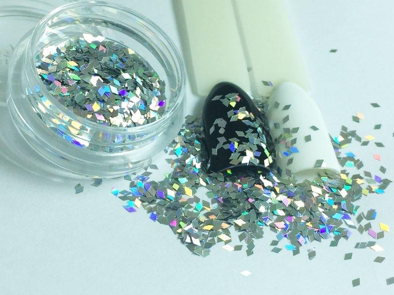 NelTes, Ромбики (серебряный, 1 мм.)Камифубуки для дизайна ногтей<br>Ромбикидля дизайна ногтей<br>