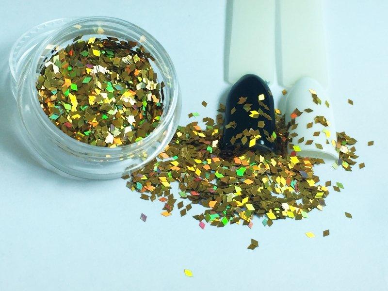 NelTes, Ромбики (насыщенный золотой, 1 мм.)Камифубуки для дизайна ногтей<br>Ромбикидля дизайна ногтей<br>
