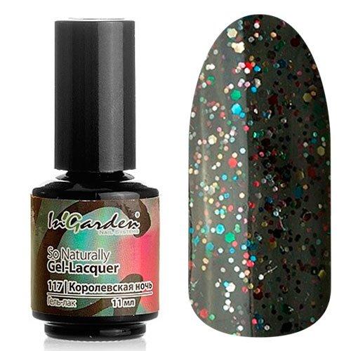 InGarden So Naturally, цвет №117 Королевская НочьInGarden So Naturally<br>Гель-лак, черный с зелеными, красными, голубыми и золотыми разноразмерными блестками, полупрозрачный, 11 ml<br>