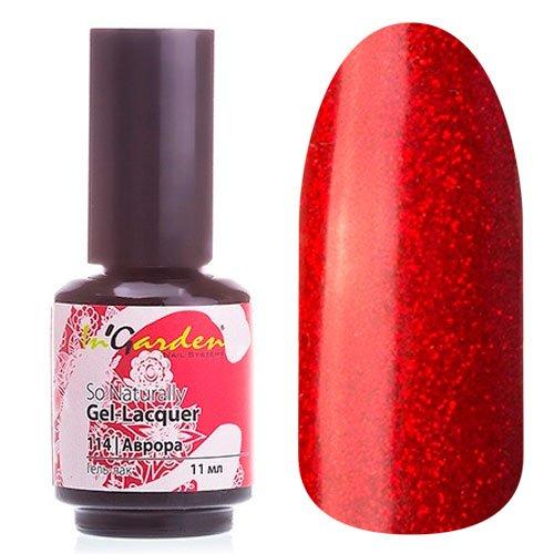 InGarden So Naturally, цвет №114 АврораInGarden So Naturally<br>Гель-лак, насыщенный алый, с большим кол-вом мелких красных блесток, плотный,11 ml<br>