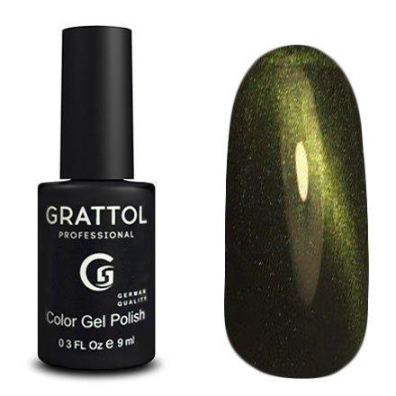 Grattol, Топ Кошачий глаз - Crystal Green №003 (9 мл.)Grattol<br>Зеленый топ/гель лак, с эффектом Кошачий глаз, полупрозрачный<br>