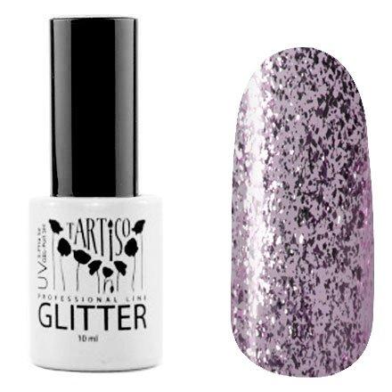 Tartiso, Гель-лак - Glitter №04 (10 мл.)Tartiso <br>Гель-лак, полупрозрачный с розовыми блестками и серебряной слюдой<br>