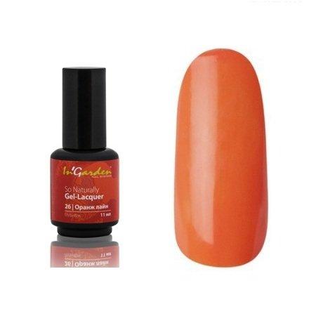 InGarden So Naturally, цвет №26 Оранж ЛайнInGarden So Naturally<br>Гель-лак, классический оранжевый, без блесток и перламутра, плотный, 11 ml<br>