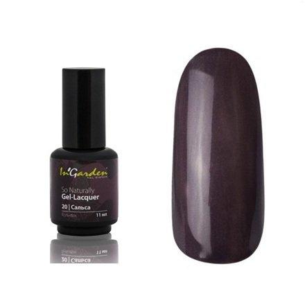 InGarden So Naturally, цвет №20 СальсаInGarden So Naturally<br>Гель-лак, темный фиолетово-серый с микроперламутром, плотный, 11 ml<br>