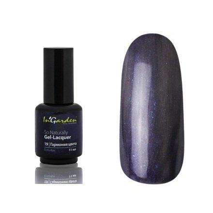 InGarden So Naturally, цвет №19 Гармония цветаInGarden So Naturally<br>Гель-лак, темно-фиолетовый с перламутром, плотный, 11 ml<br>