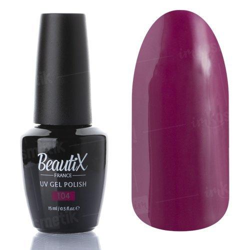Beautix, Гель-лак №104 (15 мл.)Beautix<br>Гель-лак, фиолетово-бордовый, глянцевый, плотный<br>