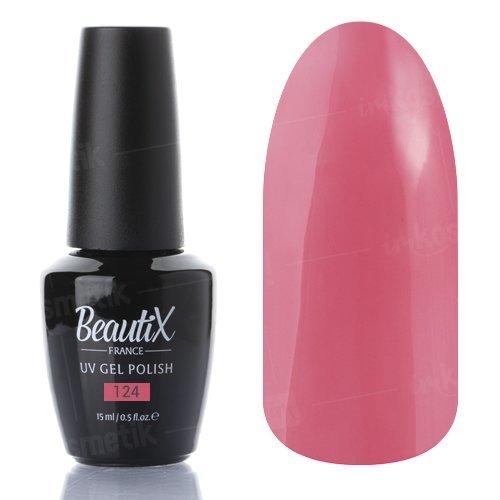 Beautix, Гель-лак №124 (15 мл.)Beautix<br>Гель-лак, теплый розовый, глянцевый, плотный<br>