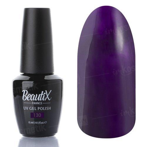 Beautix, Гель-лак №130 (15 мл.)Beautix<br>Гель-лак, темный ежевичный, глянцевый, плотный<br>