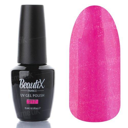 Beautix, Гель-лак №217 (15 мл.)Beautix<br>Гель-лак, розовый, глянцевый, с микроблеском, плотный<br>