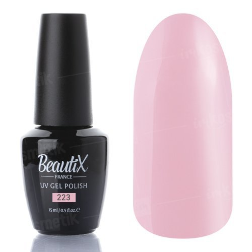 Beautix, Гель-лак №223 (15 мл.)Beautix<br>Гель-лак, молочно-розовый, глянцевый, плотный<br>