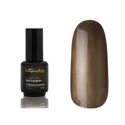 InGarden So Naturally, цвет №07 Мульти шоколадInGarden So Naturally<br>Гель-лак, коричнево-золотистый, перламутровый, плотный, 11 ml<br>