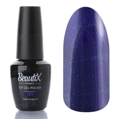 Beautix, Гель-лак №321 (15 мл.)Beautix<br>Гель-лак, фиолетовый, глянцевый, с синими блестками, плотный<br>