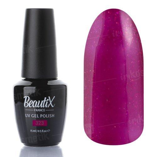 Beautix, Гель-лак №323 (15 мл.)Beautix<br>Гель-лак, фиолетово-малиновый, глянцевый, с блестками, плотный<br>