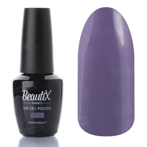 Beautix, Гель-лак №329 (15 мл.)Beautix<br>Гель-лак, сиренево-серый, глянцевый, плотный<br>