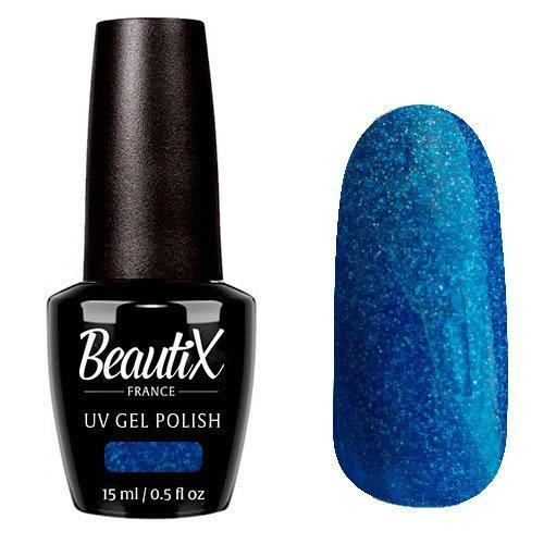 Beautix, Гель-лак №334 (15 мл.)Beautix<br>Гель-лак, синий, глянцевый, с голографическими микроблестками, плотный<br>