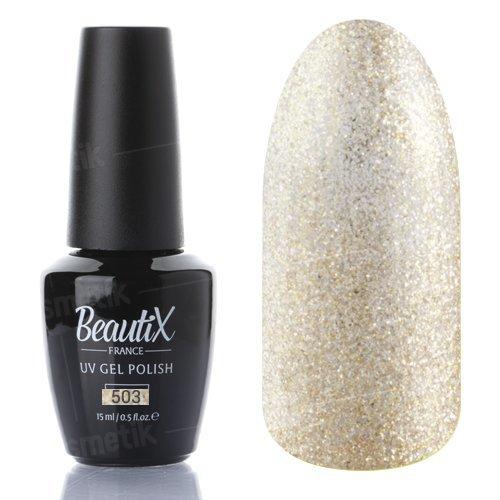 Beautix, Гель-лак №503 (15 мл.)Beautix<br>Гель-лак, золотой, с большим количеством блесток, плотный<br>