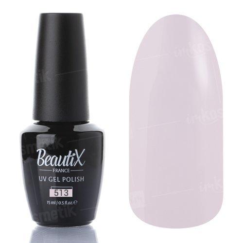 Beautix, Гель-лак №513 (15 мл.)Beautix<br>Гель-лак, полупрозрачный, с легким розовым подтоном, идеальный для камуфляжа<br>