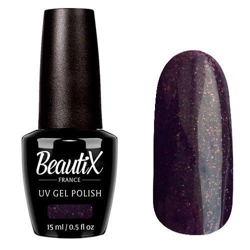Beautix, Гель-лак №612 (15 мл.)Beautix<br>Гель-лак, сливовый, глянцевый, с золотыми блестками, плотный<br>